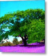 Tree In Lavender Metal Print