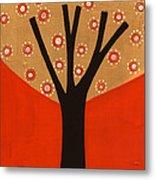 Tree In Orange Metal Print