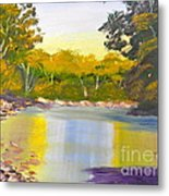 Tree Lined River Metal Print