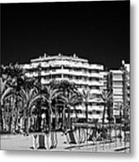 Tree Lined Seafront Promenade And Beach Salou Catalonia Spain Metal Print