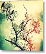 Tree Of Crows II Lights Metal Print