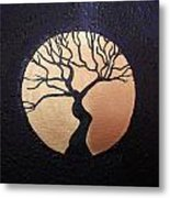 Tree Of Life Purple With Gold Moon Metal Print