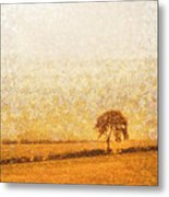 Tree On Hill At Dusk Metal Print by Pixel  Chimp
