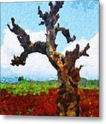 Tree On Red Land Painting Metal Print