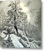 Tree On The Rocks Metal Print
