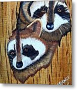 Tree Raccoons Metal Print
