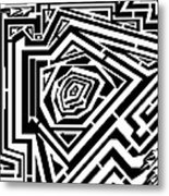 Tree Rings Abstraction Maze  Metal Print