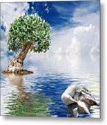 Tree Seagull And Sea Metal Print