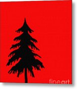 Tree Silhouette On A Red Background 2 Metal Print