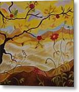 Tree With Red Apple Metal Print