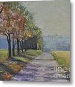 Treelined Road Metal Print