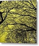 Trees Abstarct Yellow Metal Print