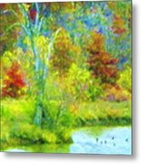 Trees In Spring On A Lake Metal Print