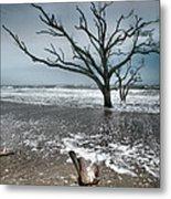 Trees In Surf Metal Print