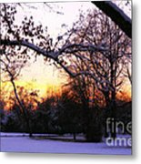 Trees In Wintry Pennsylvania Twilight Metal Print
