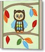 Treetop Friends - Owl Metal Print