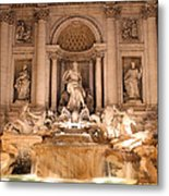 Trevi Fountain At Night Metal Print