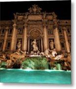 Trevi Fountain Illuminated At Nighttime Metal Print