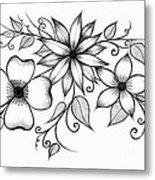 Tri-floral Sketch Metal Print