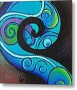 Tribal Koru Blue Metal Print
