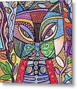 Tribal Mosaic Cat Garden Metal Print