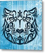 Tribal Tattoo Design Illustration Poster Of Snow Leopard Metal Print