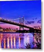 Triborough Bridge At Night Metal Print