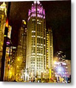 Tribune Tower On A Rainy Night Metal Print
