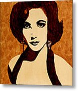 Tribute To Elizabeth Taylor Coffee Painting Metal Print