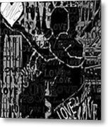 Tribute To Love In Black Metal Print