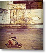 Tricycle In Abandoned Room Metal Print