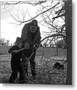Trimming A Tree Metal Print