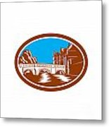 Trinity College Bridge Cambridge Woodcut Metal Print