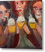 Trio In Cafe Metal Print
