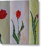 Trio Of  Red Tulips Metal Print