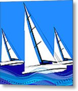 Trio Of Sailboats Metal Print