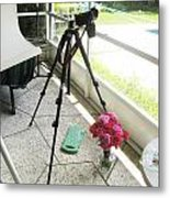Tripod And Roses On Floor Metal Print