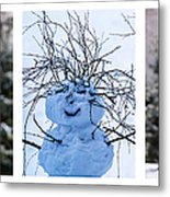 Triptych - Christmas Trees And Snowman - Featured 3 Metal Print