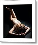 Triptychon Beautiful Curly-haired Nude 1 Metal Print