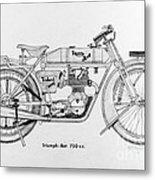 Triumph-bat 750c.c. Metal Print