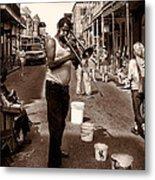 Trombone Man On Royal St. New Orleans Metal Print