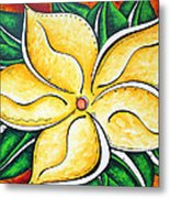 Tropical Abstract Pop Art Original Plumeria Flower Painting Pop Art Tropical Passion By Madart Metal Print