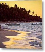 Tropical Beach At Sunset Metal Print by Elena Elisseeva