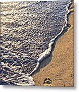 Tropical Beach With Footprints Metal Print