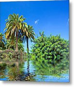 Tropical Exotic Jungle And Water Metal Print