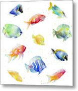 Tropical Fish Round Metal Print