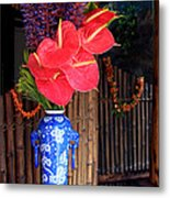 Tropical Flowers In A Porcelain Vase Metal Print