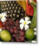 Tropical Fruit Basket Metal Print by Cole Black