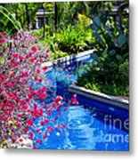 Tropical Garden Around Pool Metal Print
