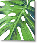 Tropical Leaf With Blue I Metal Print